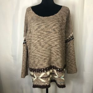 FREE PEOPLE Crochet Knit Frayed Sweater Tunic
